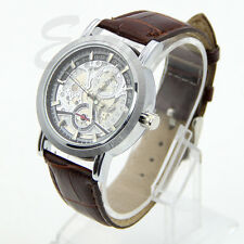 Men Mechanical Automatic Skeleton Date Synthetic Leather Wrist Watch NEW