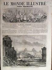 LE MONDE ILLUSTRE 1861 N 244 DEMOLITION DU PAVILLON DE FLORE, A PARIS