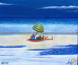 original Art Painting Beach Surf by Andy Baker australia abstract COA print