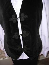 #664 Womens Black Velvet Vest`~ Renaissance Victorian Dickens Steampunk M