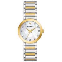 Bulova Women's Quartz Crystal Accent Two-Tone Bracelet 30mm Watch 98P180