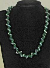 Green Turquise Toggle Clasp Hand Made Seed Bead Necklace Christmas Twisted Rope