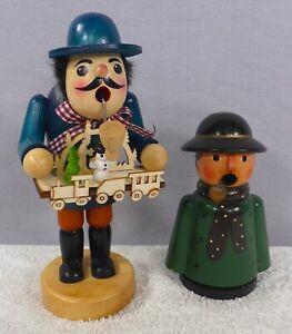 2 Vintage/Used Smoking Man Incense Burners Christmas Germany Toy Seller