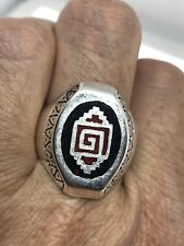 VINTAGE SOUTHWESTERN RED CORAL RING SILVER WHITE BRONZE MENS INLAY SIZE 12.75
