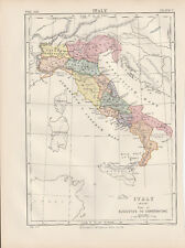 Italy Ancient Time Original colour map 1875 W & A K Johnston