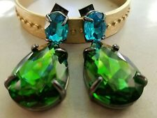 NEW W SIGNATURES ALEXIS BITTAR EARRINGS TEARDROP LARGE EMERALD GREEN TURQUOISE