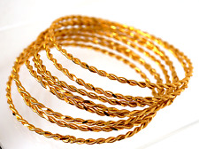 Vintage Matching Set of Eight 22k Solid Yellow Gold Bangles Fine Jewelry