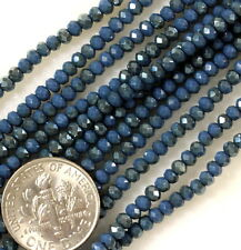 Rondelle Beads, 2x2.25mm, Opaque Ink Blue w/AB Finish, Czech Beads, 100 Pcs
