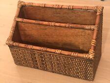 Vintage Wood Basket Letter Rack Tidy