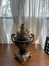 Large Blue Antique Trophy Style Lamp With Dragon Base & Griffith Detail