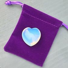 "Opalite 30mm Crystal Heart ""I Love You"" Gift Luxury Velvet Bag Charm Chakra"