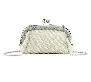 Shell Beaded Clutch Purse Chain Shoulder Lady Metal Diamonds Wedding Evening Bag