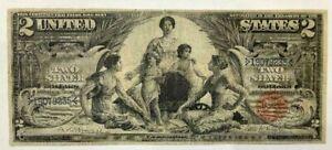 "1896 $2 LARGE EDUCATIONAL SILVER CERTIFICATE ""BEAUTIFUL""."