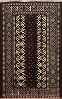 Geometric Tribal Balouch Hand-knotted Area Rug Wool Oriental Kitchen Carpet 3x4