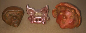 3 Folk Art Pottery Sculpture Carvings Mayan ? Colombian ? North Carolina, Signed