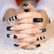 24ps Fake Nails Black Transparent Glitter Long Square Head Full Design Nail Tips