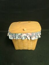 Longaberger Large Mail Basket 1993 leather hinges with liner & protecter