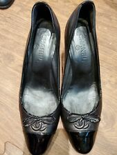 CHANEL  Black Leather Pump Heels Size 41