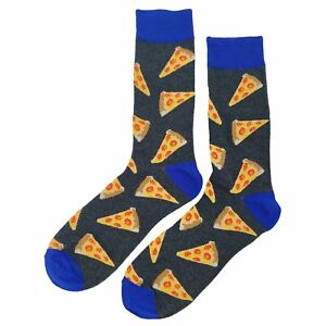NWT Pizza Dress Socks Novelty Men 8-12 Gray Fun Sockfly