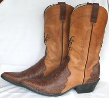 Vtg Ariat Womens 15759 Floral Brown Leather Cowgirl Boots Snip Toe Sz 10B VGC