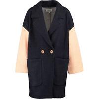FARHI BY NICOLE FARHI  Women's Navy & Grey Colourblock Woollen Coat, UK12, UK14
