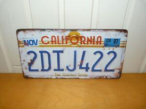 Funky Metal Wall Hanging Number Plates: Kansas Colorado Florida California Aloha