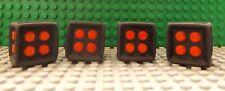 4 LEGO Dado Juego De Tintas Característica 6 Caras Goma Estructura Rojo Centro