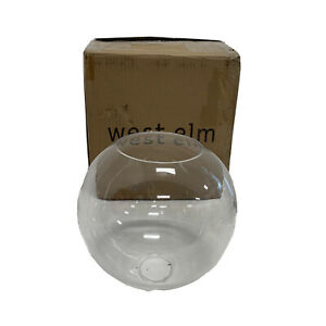 "West Elm Sculptural Glass Shade Small Globe Clear NEW  8.5""diam. x 8""h Open Box"