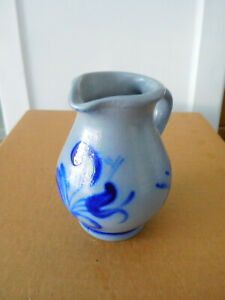 """Small Salt Glaze Pitcher Gray and Blue  0.25  Made in Germany  5"""" High"""