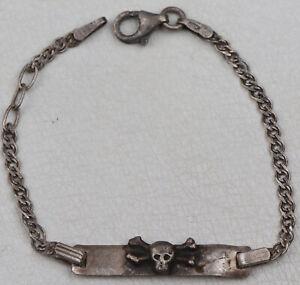 Bracelet SKULL Bones JEWELRY Sterling Silver 925 ww2 WWII Vintage EUROPE 136 mm