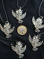 Silver Tawney Owl Bird Animal Cord Necklace Charm Pendant Wisdom Luck Protection