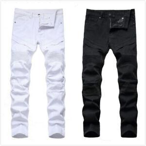 Fashion Men Moto Biker Jeans Straight Skinny Slim Fit Denim Casual Wash Pant US