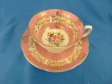 Royal Grafton cup and saucer pink gold scroll bone china England art porcelain