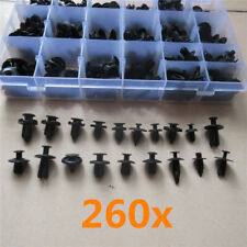 260x Universal Mixed Car Bumper Fender Black Plastic Push Rivet Fastener Clips