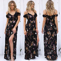 Women's Summer Beach Sundress Floral Boho Evening Party Cocktail Long Maxi Dress