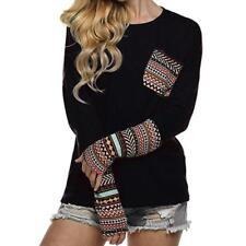 Women Patchwork Casual T Shirt Long Sleeve Cotton Tops Blouse With Thumb Holes