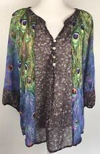 Fig and Flower Anthropologie Sheer Blouse Shirt Peacock Feather Design Size M