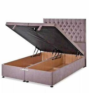 Luxury Plush Velvet Ottoman Divan Bed Frame - End Lift Storage- Mattress Option