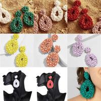 Boho Handmade Tassel Earrings Women Resin Beads Dangle Drop Earrings Jewelry