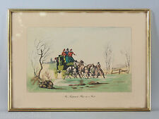 LITHOGRAPHIE AQUARELLEE ENCADREE, diligence, chevaux, hiver, Place in a Frost
