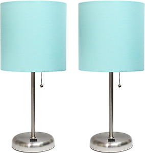 Stick USB Charging Port and Fabric Shade 2 Pack Lamp Set, Brushed Steel/Tan