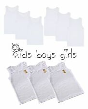 Kids Boys Children girls vests White Vest Cotton Summer Tank Top School Wear