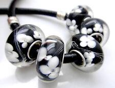 5PCS silver hallmarked Single Core Murano Glass Beads fit Charms Bracelet V37