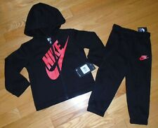Nike Baby Toddler Boys Outfit Set Pants Hoodie Sweatshirt 24M Black Red NWT