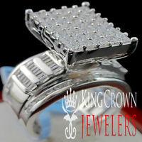 Ladies 14K White Gold On Silver Princess Cut Lab Diamond Bridal Engagement Ring