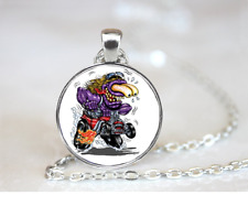 Purple Monster On Red HotRod PENDANT NECKLACE Chain Glass Tibet Silver Jewellery