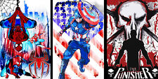Spiderman Captain America Punisher 11 x 17 (3) Super hero lot Quality Posters