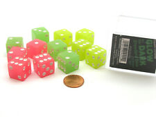 Case with 12 16mm Glow in the Dark Dice - 4 Each of Lemon Lime and Peach Colors