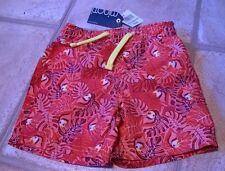 BNWT 12-18 months Minoti boy swim shorts Miami patterned red pink leaf bird