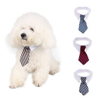 Striped Dog Cat Accessories Bow Tie Adjustable Necktie Collar Pet Bandana